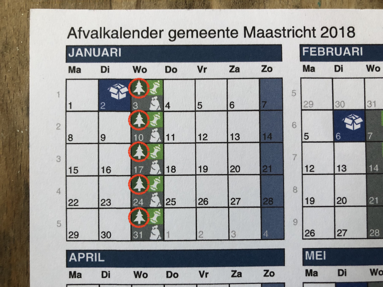 マーストリヒト ゴミ出しカレンダー
